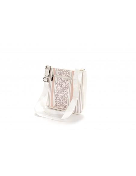 MS126 85652 Borsa Donna Tracolla Pierre Cardin motivo fantasia logo e righe bicolori