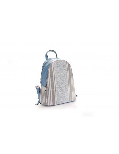 MS126 85536 Zaino Tondo Donna Motivo Fantasia Logo Pierre Cardin e Righe Bicolori