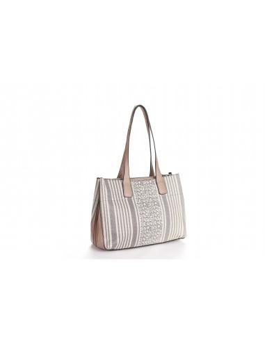 MS126 22756 Borsa Donna Shopper  Motivo Fantasia Logo Pierre Cardin e Righe Bicolori