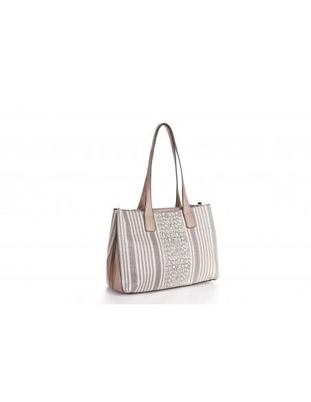 Borsa donna shopper fantasia logo Pierre Cardin e righe bicolori MS126 22756