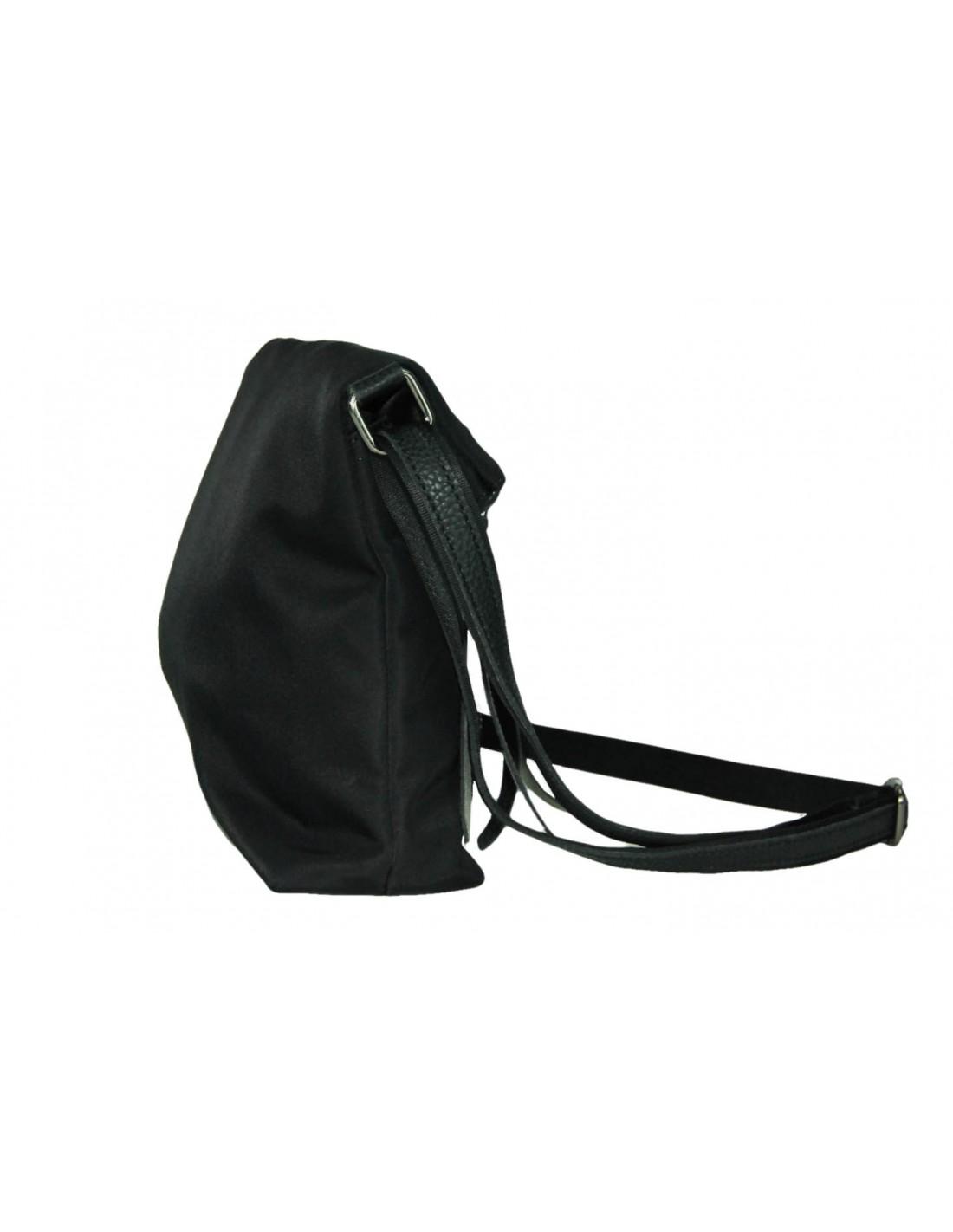 Borsa in nylon nero con accessori in canna di fucile chiusura con zip e tracolla regolabile 31x25x10 UNY05_64051 2/UNY05_64051