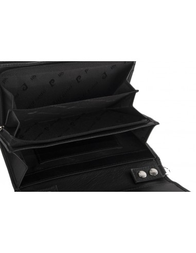 Borsa portafoglio donna PIERRE CARDIN nera in vera pelle con apertura a bottone 1416B_TILAK10